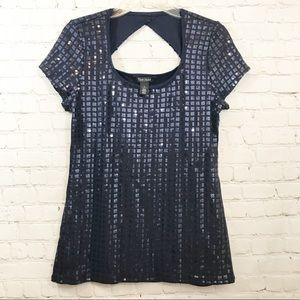 White House Black market blue sequin top size M